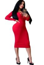 Einfarbig schnüren lange Ärmel Midi-Kleid