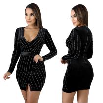 Beaded Velvet Long Sleeve Mini Club Dress