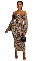 Sexy Leopard Strapless Cut Out Midi-Kleid