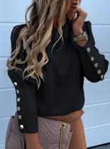 Elegante camisa vintage con cuello redondo