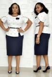 Conjunto de falda y top de madre a lunares de talla grande