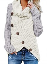 High Neck Pullover Wrap Sweater