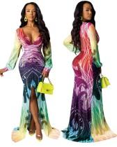 Красочное платье русалки с длинными рукавами Deep V