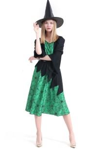 Fato de bruxa preta e verde para mulher