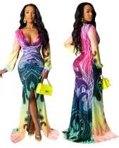 Derin V Renkli Uzun Kollu Mermaid Elbise