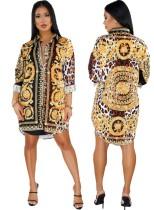 Chemise à manches longues imprimée ethnique