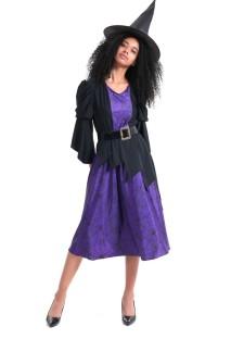 Fato de bruxa preta e roxa para mulher