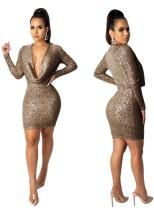 Pailletten Deep-V Mini Club Kleid