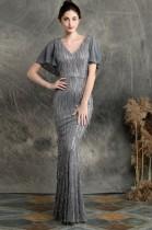 Paillettes robe de soirée sirène col V