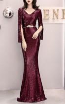 スパンコールディープVマーメイドイブニングドレス