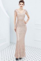 Paillettes robe de soirée sirène col en V