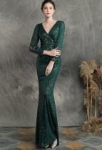 Pailletten Deep-V Meerjungfrau Abendkleid