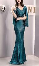 Vestido de noche de sirena Deep-V de lentejuelas