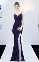 Sexy Sequins Straps Slit Mermaid Evening Dress