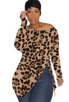 Camisa de manga larga con cremallera y estampado de leopardo