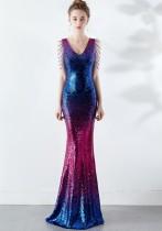スパンコールカラフルVネックマーメイドイブニングドレス