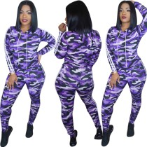 Camou Purple Tight Sports Top en broek