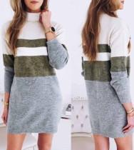 Contrasterende mini-jurk met hoge hals