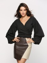 Plain Color Wrap Crop Top with Pop Sleeves
