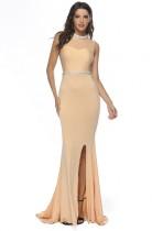 Einfarbig ärmellos Schlitz Meerjungfrau Abendkleid