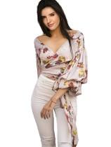 Print Floral Wrap Crop Top with Pop Sleeves