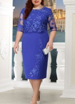 Plus Size Lace Up Formal Midi Dress