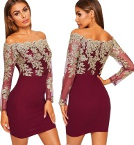 Off Shoulder Applique Mini Dress