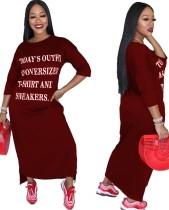 Print jurk met ronde hals en lange mouwen met 3 / 4 mouwen