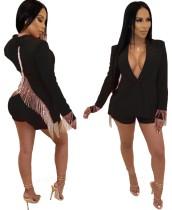 Conjunto exclusivo de pantalones cortos y blazer con borlas