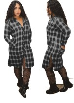 Lange mouwen geruite getailleerde blousejurk
