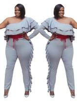 Plus Size One Shoulder Rüschen grau Overall