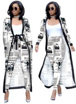 Print Newspaper Tight Pants and Long Coat Set