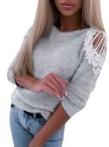 Suéter básico con cuello redondo y patchwork de encaje