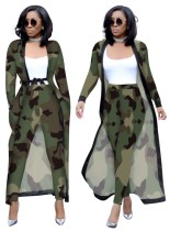 Print Camou Tight Pants and Long Coat Set