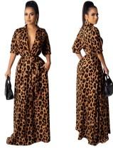 Vestido largo sexy con estampado de leopardo Deep-V con cinturón