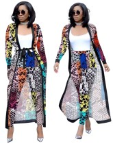 Print Colorful Tight Pants and Long Coat Set