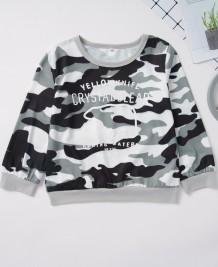 Camisa de manga comprida com estampa de criança menino Camou