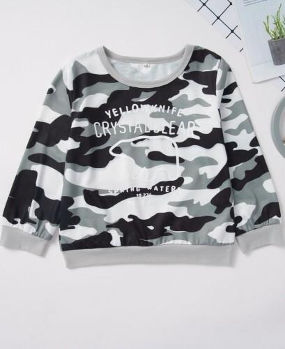 Kinder Boy Camou Print Langarm Shirt