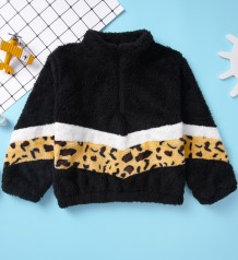 Kids Girl Leopard Print Plush Sweat