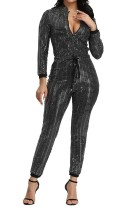 Pailletten Drawstrings Zipper Jumpsuit