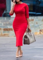 Rote halbe Ärmel Reifen Midi-Kleid