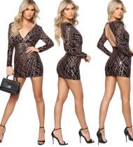 Sequins V-Neck Long Sleeve Mini Dress