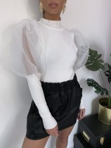 Plain Color Knitting Basic Top with Pop Sleeves