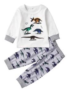 Kids Boy принт с длинным рукавом из двух частей пижамы