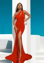 Red One Shoulder Slit Meerjungfrau Abendkleid