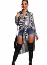 White and Black Striped Slit Long Blouse
