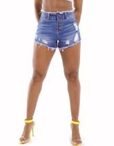 Pantalones cortos de mezclilla con botones de cintura alta