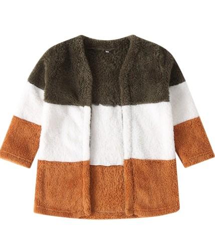 Abrigo de felpa con contraste para niña