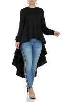 Простая цветная рубашка с длинными рукавами и длинными рукавами