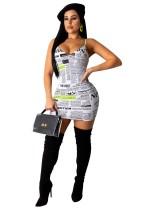 Seksi Askılı Bodycon Elbise Yazdır
